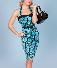 Love this Tatyana Blue & Black Floral Halter Dress - Women & Plus by Tatyana on #zulily! #zulilyfinds