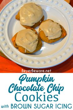 Pumpkin chocolate chip cookies are a made from scratch chocolate chip cookie with real pumpkin in the cookie dough and then topped with brown sugar icing on top! #Pumpkin #Cookies #ChocolatechipCookies #FallRecipes #CookieRecipe Brown Sugar Frosting, Brown Sugar Cookies, Pumpkin Chocolate Chip Cookies, Pumpkin Recipes, Fall Recipes, Cookie Recipes, Cookie Dough, Cookie Cups, Old Fashioned Recipes
