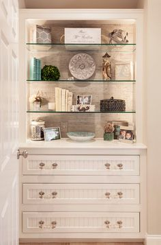 Home Decor, Home Remodeling Bedrooms: Coastal Home with Neutral Interiors. What I love? Grass cloth wall covering behind the glass shelves.