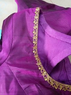 Just a delicate touch of Zari and stones embroidery gives life to a fabric. Pattu Saree Blouse Designs, Simple Blouse Designs, Bridal Blouse Designs, Stone Work Blouse, Mirror Work Blouse Design, Designer Blouse Patterns, Hand Embroidery, Embroidery Designs, Goldwork