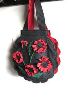 Vintage 1940s Purse    Large Red and Black Felt by vintagecurve, $48.00