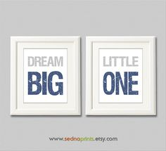 Navy and grey dream big little one Nursery Art by SednaPrints, $26.00