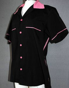 Black Pink Retro Bowling Shirt Ladies S #Blouse #Casual