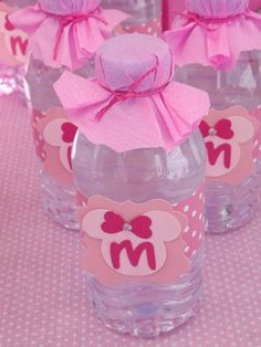 Pink Minnie Mouse birthday party drinks! See more party planning ideas at CatchMyParty.com!