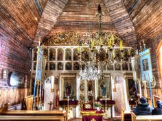 Wooden churches in Slovakia, Vyšný Komárnik village Attraction, The Past, Greek, Fair Grounds, Europe, Ceiling Lights, Pictures, Catholic Churches, Travel