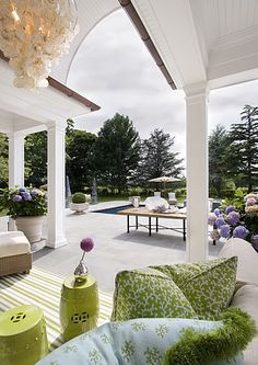 outdoor living space, open, inviting...#design like the mix of greens