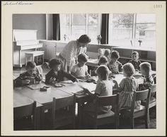 Kindergarten class at Vincent Massey Public School, Ontario, November 1958. #vintage #school #Canada #1950s