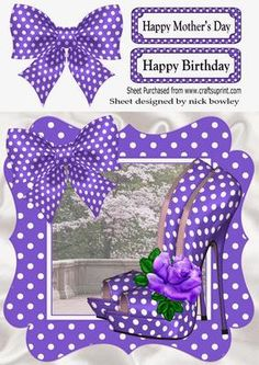 Lovely in purple polka dot shoes bow and frame 8x8 on Craftsuprint - Add To Basket!