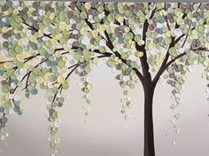 Yellow Green and Brown Textured Tree Original Acrylic