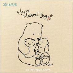846 母の日  Mother's day #illustration #polarbear #イラスト #シロクマ #illustagram