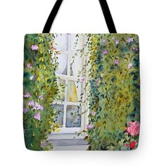 The Window Tote Bag by Terri Robertson.  The tote bag is machine washable, available in three different sizes, and includes a black strap for easy carrying on your shoulder.  All totes are available for worldwide shipping and include a money-back guarantee.