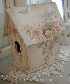 Beautiful birdhouse! Painted by Debi Coules  ~ debicoules.com