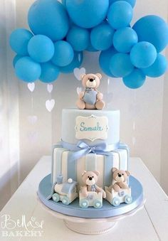 36 Trendy baby shower decorations for girls diy how to make Torta Baby Shower, Deco Baby Shower, Baby Shower Cakes For Boys, Teddy Bear Baby Shower, Baby Shower Backdrop, Baby Boy Cakes, Baby Shower Balloons, Baby Shower Parties, Baby Shower Themes