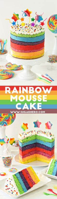 Rainbow Mousse Cake - seven fabulous layers of cake and mousse, each with a different color and fruity flavor! Perfect for birthday parties, rainbow parties, or St. Patrick's Day! | From SugarHero.com
