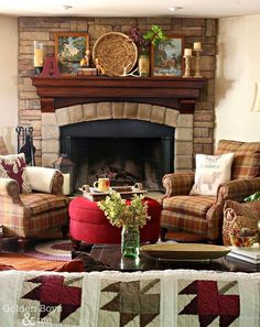 how to rustic eclectic fall mantel, fireplaces mantels, home decor, rustic furniture