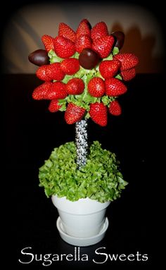 This centerpiece is one of my favorite creations ever. I call it the Strawberry tree topiary. I love this project, looks so complicated but actually is so simple. This beautiful, fancy and unique centerpiece is perfect for a wow factor, such as wedding centerpieces, valentines or any other party. You may also wrap your creation and give it as an amazing gift. Hope you guys love it. Have a look at my website for more pictures and ideas. www.SugarellaSweets.com