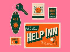 Graphic Design Discover We love Help Inn! We love Help Inn! Packaging Design, Branding Design, Logo Design, Design Editorial, 2 Logo, Typography Logo, Postcard Design, Grafik Design, Graphic Design Inspiration