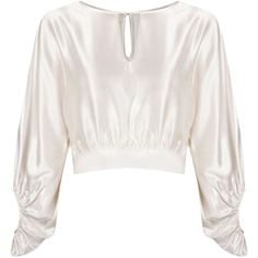 Martha Medeiros Billowing Sleeves Crop Blouse (1,195 PEN) ❤ liked on Polyvore featuring tops, blouses, shirts, white, white silk blouse, cut out sleeve shirt, cut out sleeve blouse, cut out shirt and shirt blouse