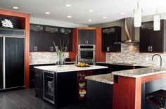 Modern Kitchen with an amazing back-splash | by: NOVA Associates Cabinets & Countertops | Rochester, MI