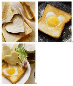 Gebratener Toast mit Spiegelei-Herz Fried toast with fried egg heart Time: 5 min. Cinnamon French Toast, French Toast Bake, Breakfast Desayunos, Breakfast Recipes, Dinner Recipes, Pain Perdu Simple, Toast Pizza, Huevos Fritos, Valentines Day Food