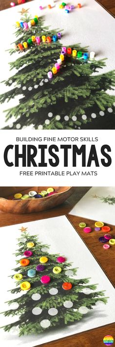 Christmas Fine Motor Skills Mats - build and strengthen fine motor skills with the help of these FREE Christmas themed printable play mats. With three mats included, there are so many different ways to use these Christmas printables Preschool Christmas, Noel Christmas, Christmas Crafts For Kids, Winter Christmas, Christmas Themes, Holiday Crafts, Xmas, Christmas Printables, Christmas Activities