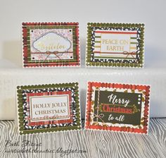 Beth's Beauties: Quick Christmas Cards using DCWV Christmas Plaid stack and Trendy Twine