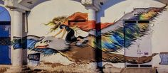 Beautiful Street Art from India. The beautiful girl astride an eagle seems like a protectoress from the heavens