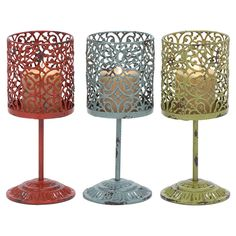 34900 AMBHome Beautiful Metal Candle Holder 3 Assorted With Unique Style. Elegant and attractive, this metal candle holder has a versatile appeal and can be used with all Decor settings. Designed from high grade metal, this minimalistic looking Decor pie Metal Candle Holders, Candle Set, Candle Stands, Metal Lanterns, Candle Lanterns, Candleholders, Lantern Set, Love Design, Joss And Main
