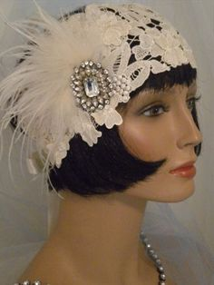 1920's Headpiece Flapper Headband Vintage,Lace,Ivory, Feathers, EV Studio #193