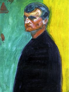 Edvard Munch - Self Portrait against two-colored background