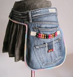 Colleen's notes. Nice idea.  Can't find instructions. Easy enough.  Cut away a pair of jeans that are a good size at the waste, sew second pocket over first, (don't sew over the first over sew around it) and trim the piece, or not, with bias trim. Add decoration, beads in this example.