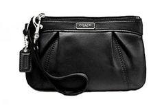 Coach Leather Pleated Medium Wristlet Clutch Purse 46484 Black