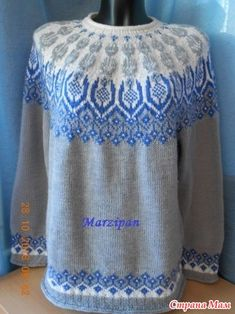. Джемпер с круглой жаккардовой кокеткой Frost Icy Flowers (Ледяные цветы) - Вязание - Страна Мам Fair Isle Knitting Patterns, Knitting Charts, Sweater Knitting Patterns, Lace Knitting, Knitting Socks, Knit Patterns, Vogue Knitting, Dresses Kids Girl, Sweater Design