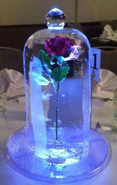 Ice Styling Sculpture Red Rose in Dome and Illuminated. Pretty, needs a different base.
