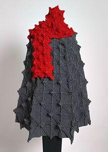 Mary Jaeger, NYC...surface design Red and gray knitted scarf and cape - Texture! Texture! Texture!