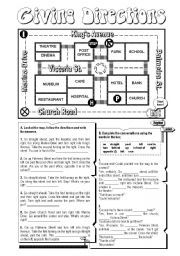 English worksheet: Giving Directions (key on page 2)