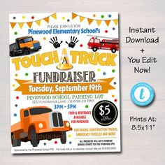 Touch A Truck Fundraiser Flyer Printable Template Fundraising Events, Fundraiser Event, Unique Fundraising Ideas, School Fundraising Ideas, Fundraising Activities, School Fundraisers, Pta, Non Profit, How To Raise Money