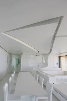 Modern Living Spaces // Amazing ceiling detail at the Costa Blanca Apartment in Spain by A-cero. Photo by Plasmalia, via Contemporist Space Interiors, White Interiors, Ceiling Design, Ceiling Detail, Interior Design Inspiration, Interior Ideas, Home Trends, Minimalist Interior, Apartment Design