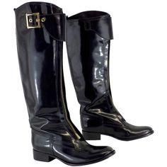 Pre-owned Tory Burch Black Patent Leather Knee High Boots ($171) ❤ liked on Polyvore featuring shoes, boots, none, black strap boots, black knee boots, strappy boots, black patent leather boots and knee high boots