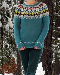 Titbirds Sweater pattern by Natalia Moreva - fair isle knittings Fair Isle Knitting Patterns, Knitting Charts, Sweater Knitting Patterns, Knitting Stitches, Knit Patterns, Free Knitting, Loom Knitting, Stitch Patterns, Fair Isle Pattern