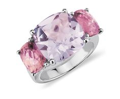 Lavender Amethyst and Pink Tourmaline Ring in 14k White Gold - Blue Nile