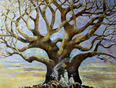 Fred Gowland 'Baobab Tree with Shepherds' Oil on Canvas held by a private Singapore Collector