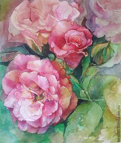 """Купить Авторская картина """"Розовые розы"""" - розовый, цветы, розы, картина, картина с розами"""