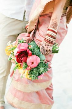 colorful bridal bouquet with pink peonies   Anna Dobrydneva Photography   see more on: http://burnettsboards.com/2014/09/southeast-asian-wedding-inspiration/