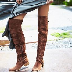 """Charles David brown over-the-knee boots Gorgeous italian craftsmanship on these charles david suede boots. 1.3"""" stacked heel, 23""""H shaft, 15.5"""" circ. Buckle straps at ankle and top of shaft. Side zip eases dress. Padded footbed. Rubber outsole. Made in italy. Style """"Giana"""". Offers welcome through offer tab. No trades. 33016601 Charles David Shoes Over the Knee Boots"""