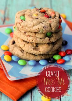 Giant Chewy M&M Cookies