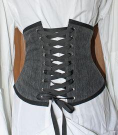 Upcycled Black Denim Jeans Waist Cincher / Waspie Style Boned Corset Belt