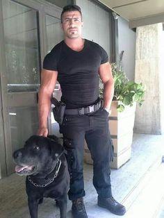 Police / gun, dog, muscle n boots.