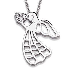 Sterling Silver Genuine Diamond Angel Heart Necklace