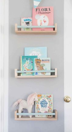 Ellie James Nursery - Lay Baby Lay Ellie James Nursery – Lay Baby Lay Ikea BEKVAM spice rack as book shelf with painted bar Ellie Ikea Nursery, Nursery Storage, Kids Storage, Nursery Room, Girl Nursery, Book Storage, Storage Ideas, Kitchen Storage, Kitchen Shelves